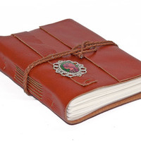 Brown Leather Wrap Journal with Cameo Bookmark