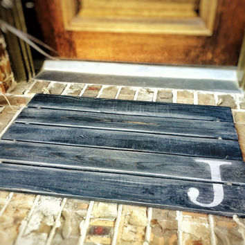 Doormat, Wood, Monogram, Custom Distressed Finishes: 2-TONE DARK GREY shown - Free Shipping