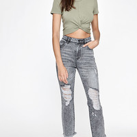PacSun Cece Gray Frayed Denim Mom Jeans at PacSun.com