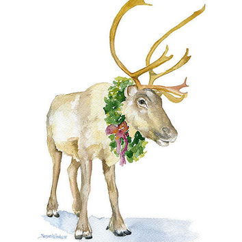 Reindeer Watercolor Painting - 8 x 10 - Christmas Wall Art - Giclee Print