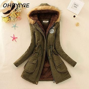 OHRYIYIE 2017 Women's Warm Long Winter Jacket Women Parkas For Female Hooded Anorak Lady Fur Jackets and Coats Manteau Femme