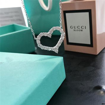 hcxx T007 Tiffany 925 sterling silver gold and diamond heart heart-shaped heart love necklace clavicle chain