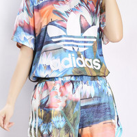 """""""Adidas"""" Fashion Casual Multicolor Clover Letter Floral Print Short Sleeve Sweater Set Two-Piece Sportswear"""