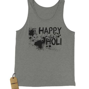 Happy Holi Indian Hindu Spring Festival Jersey Tank Top for Men