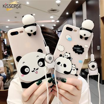 KISSCASE For iPhone 6 7 Plus Case Cover Silicon 3D With String Cute Panda Silicon Transparent Case For iPhone 6 6s Case Fundas