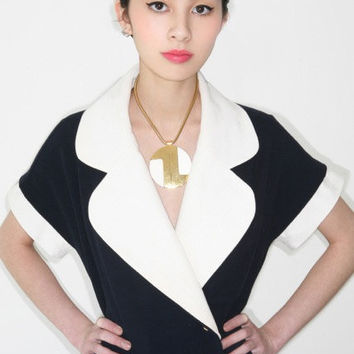 REDUCED was 740 now 615 adorable vintage 1980's CHANEL nautical sailor jersey knit mini dress w/detachable cuffs and collar