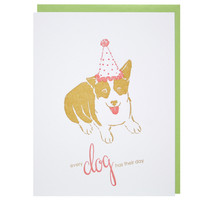 Dog in Party Hat Birthday Card