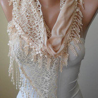 Tan Scarf with Lace Trim Edge Edge - Cotton and Lace Fabric
