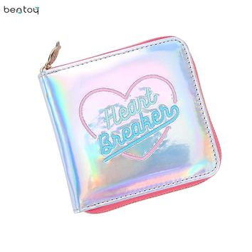 Fashion Korean Square Women Card Holder Short Wallet Laser Hologram Embroidery Moon Night Clutch Coin Purse Pocket Money Bag