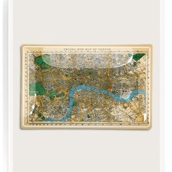 Antique Map Of London Decoupage Glass Tray