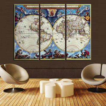 3 Piece World Map Home Wall Decor Canvas Picture Art Print On Canvas for Room