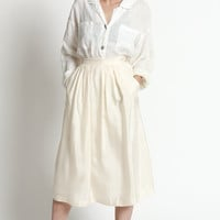 Vintage 80s Ivory Silk High Waisted Full Midi Skirt with Pockets | XS/S