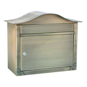 Architectural Mailboxes 2402AB Peninsula Antique Brass Mailbox with Plain Door