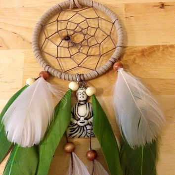 Dream Catcher - Buddha - Green - Modern Buddhist Dream Catcher - Zen - Meditation