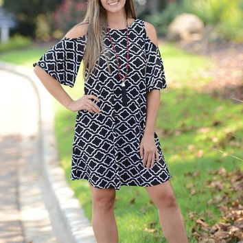 Plus Playing Games Cold Shoulder Dress