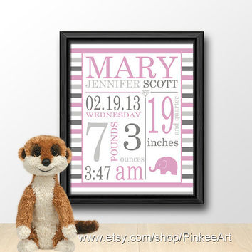 Modern baby announcement, birth art print, baby keepsake, gift for new parents, new baby decor, baby subway art, baby stats, birth stats