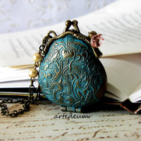 Purse locket necklace Vintage Inspired purse necklace Patina Wallet Pendant - Keepin' the Love