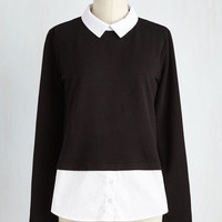 Menswear Inspired Mid-length Long Sleeve Prized Profession Top