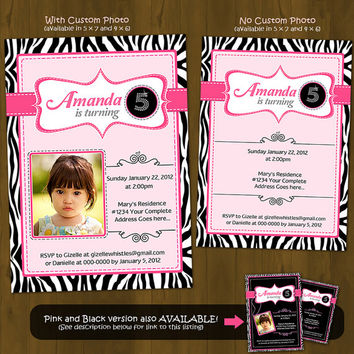 Pink Zebra Invitation - Zebra Stripes and Pink Printable Birthday Invitation - with or without custom photo - Light colors