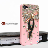 Bling iphone 4 cases iphone 4 case crystal iphone 4s case pink iphone 4 case  zinc alloy ribbon case