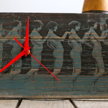 Vintage 1920's Flapper Nude Print On Wood Block Clock