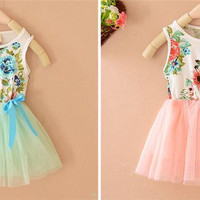 Girls Clothes Summer Skir Girls Clothes Kids Floral Print and Net Yarn Vest Dress Hot Children Summer Bowknot and Slim Princess Skirt
