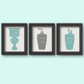 bathroom rules, bathroom printables, bathroom printable, bathroom art, bathroom print set, grey turquoise, bathroom decor, bathroom art set