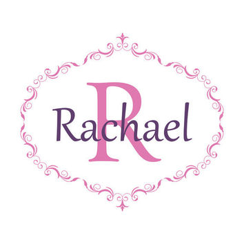 Personalized Name and Initial Wall Decal Fancy Oval Framed Monogram Girl Baby Nursery Decor so-128