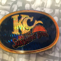 Vintage Belt Buckle 1977  KC & SUNSHINE the Band Belt Buckle POP Music Concert Album Disco Prism Rare