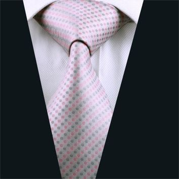 DH-1034 Mens Tie Pink Geometric NeckTie Silk Jacquard Ties For Men Business Wedding Party Free Shipping
