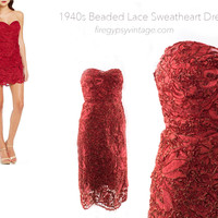 Vintage 30s 40s Party Dress Strapless Red Lace Dress Size XS