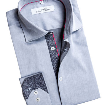 Grey Chambray fabric shirt with Cut Away collar - Melanie