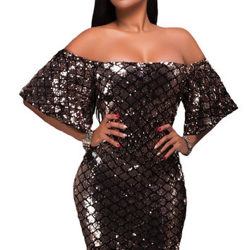 Off Shoulder Diamond Sequins Dress
