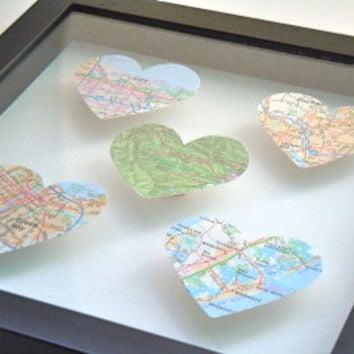 Gift for Traveler - Customized - Map Heart Shadow Box - Heart Art - Framed Heart Maps - Shadow Box With Maps - Worldwide Cities