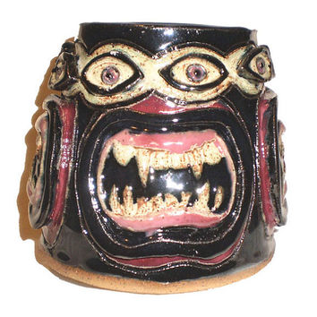 Eye & Fang Pot - Stoneware clay Slab Pot with Pattern of Molded Eyes and Fanged Mouths