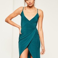 Missguided - Teal Slinky Wrap Midi Dress
