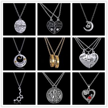 Puzzle Family Pendant Necklace Fashion Jewelry best sister best friends mother necklace Love Heart couple necklace Jewelry Gift