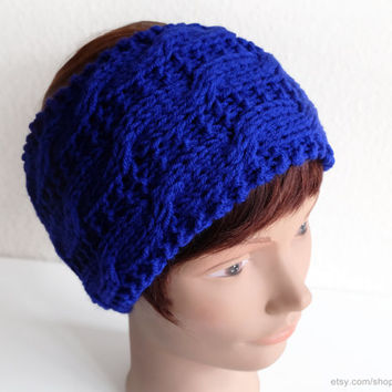 Lapis blue cable headband, deep blue wide hairband, handknit earwarmer, can also be worn as a collar, knit scarf, headwrap, Christmas gift