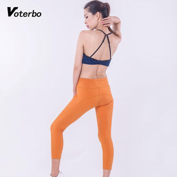 Voterbo 2 Pcs Women Sleeveless Sportsuits Light Weight Breathable Fitness Gym Workout Clothing