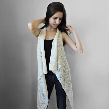 FREE SHIPPING Pure cotton vest Knitted ivory long vest Spring summer vest Lace stitch vest Multi size Plus size overcoat Extra large S- XXXL