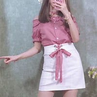 White short skirt with red check corset lace tie
