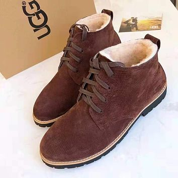 UGG Winter Newest Fashionable Men Lace-Up Warm Wool Snow Boots