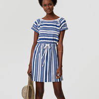 LOFT Beach Striped Cutout Drawstring Tee Dress | LOFT