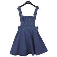 Flared Denim Suspender Skirt