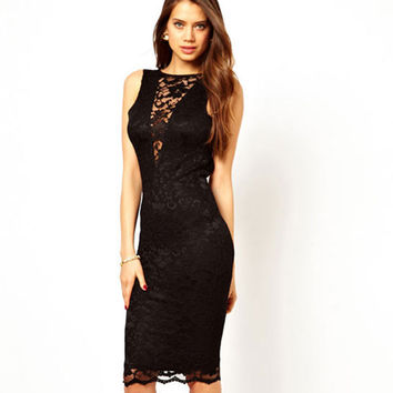 Sexy Cheap Black Lace Halter Slim Dress &Party Dress