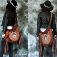 Rusted brown headdress skull leather crossbody bag pirate fringed purse hobo bag fringe unique handpainted unique piece studded strap