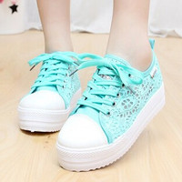 2014 Summer New Cut Out Black White Creepers Flat Platform Flatform Lace Up High Top Sneakers Women Casual Canvas Shoes Zipper