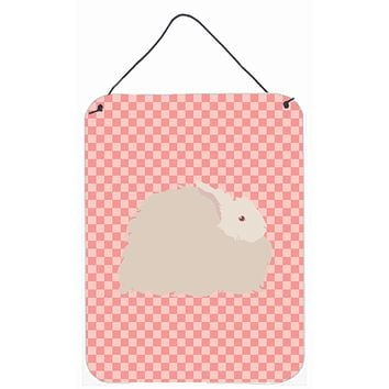 Fluffy Angora Rabbit Pink Check Wall or Door Hanging Prints BB7959DS1216