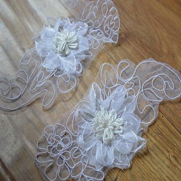 (5pcs/lot) Free shipping white organza 3D flowers  Lace Trim Fabric Millinery Accent  Dress Decoration Bridal Trim 06082138