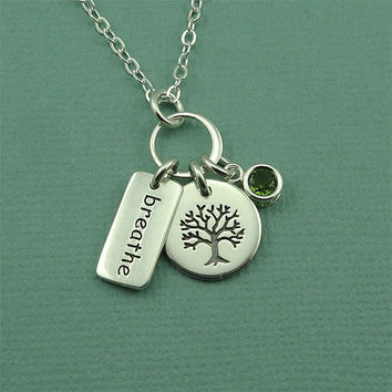Tree Of Life Charm Necklace - sterling silver breathe yoga jewelry - silver tree - peridot gemstone